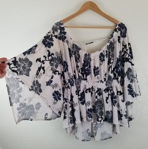 Free People Blue Bell Sleeve Flowy Boho Blouse A7
